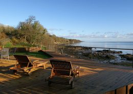 The Shorefront Redcastle Inishowen - deck with views over Lough Foyle