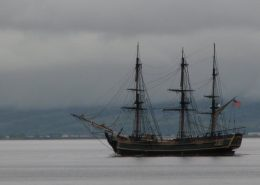 The Shorefront Redcastle Inishowen - passing tall ship