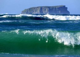 A view of Glashedy Rock from Pollan Strand, Ballyliffin